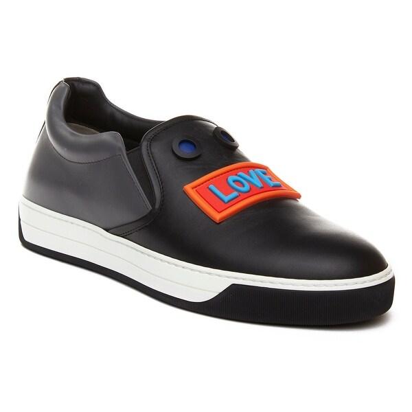 7173543670 Shop Fendi Men's Leather Embellished Slip-On Sneaker Shoes Black ...