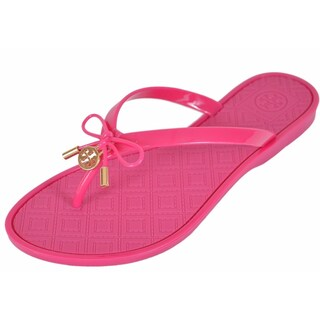 Tory Burch Women's SAUCY PINK Jelly T Logo Bow Tie Thong Sandals Shoes SIZE 5