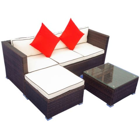 Clihome 3 Piece Patio Sectional Wicker Furniture Sofa Set With Cushion