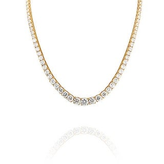 Bling Jewelry Gold Plated Graduated Prong CZ Tennis Necklace 16 Inches