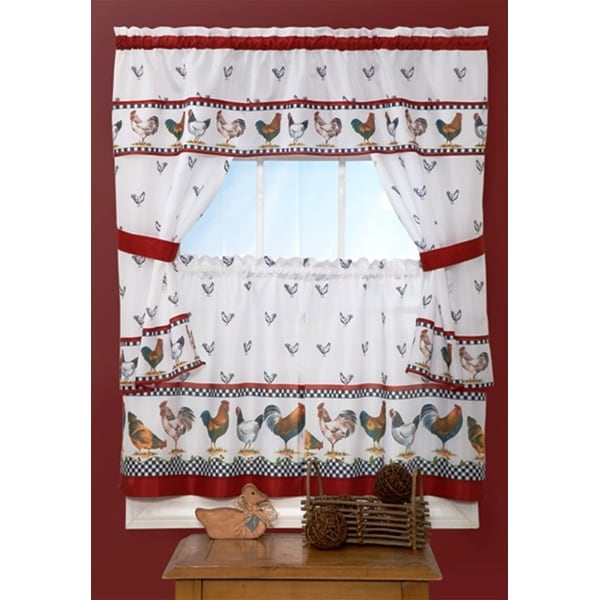 Top Of The Morning Rooster Printed Kitchen Curtain - 57x36 & 57x36 Inches