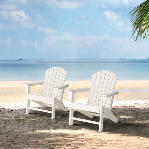 "Elm Plus 38""H High Density Polyethylene Adirondack Chairs (Set of 2)"
