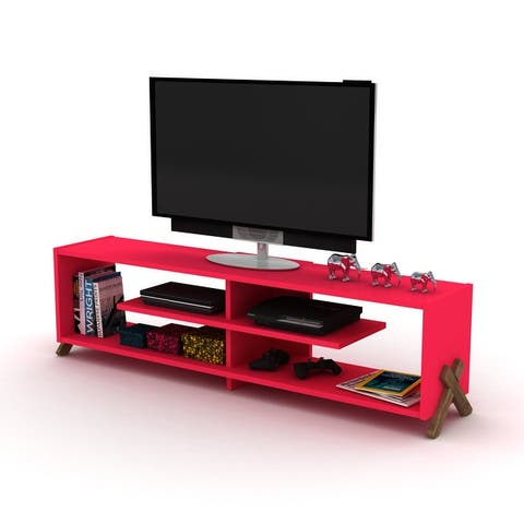 TV Stand with 4 Shelves Solid Wood Media Furniture for Living Room - 58 inches in width