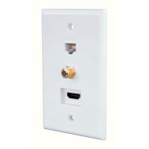 Monster JHIU0071 Just Hook It Up Combintion Style Home Theater Wall Plate, Plastic, White