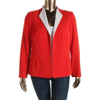 Jones New York Womens Contrast Trim Long Sleeves Open-Front Blazer - 12