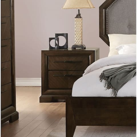 Transitional Style Wood and Metal Nightstand with 2 Drawers, Brown