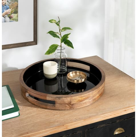 Kate and Laurel Ehrens Round Decorative Wood Tray