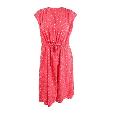 Anne Klein Women's Polka Dot V Neck Cocktail Dress (XL, Cape Code/Anne White)