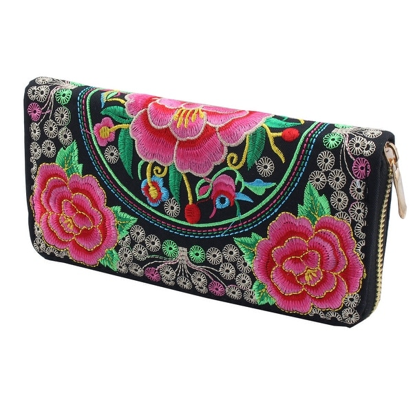 Embroidered Flower Pattern Rectangle Shape Zip Up Coin Purse Wallet Black Pink
