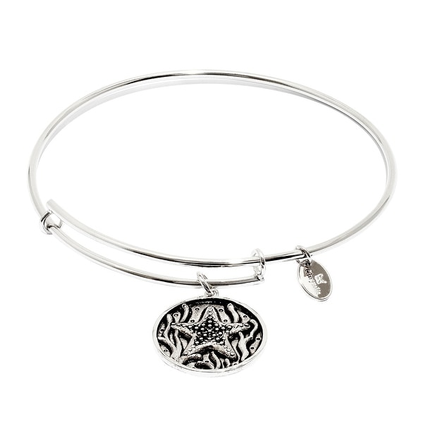 Chrysalis Expandable Starfish Bangle Bracelet in Rhodium-Plated Brass - White