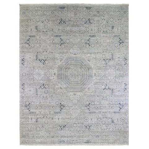"""Shahbanu Rugs Pure Silk with Textured Wool Blue-Gray Mamluk Design Hand Knotted Oriental Rug (12'0"""" x 15'2"""") - 12'0"""" x 15'2"""""""