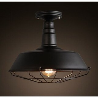 Simple industrial barn ceiling light with black finish wire cage flush mount