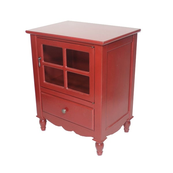 Beau 1 Door, 1 Drawer Small Accent Cabinet W/ Paned Glass Inserts