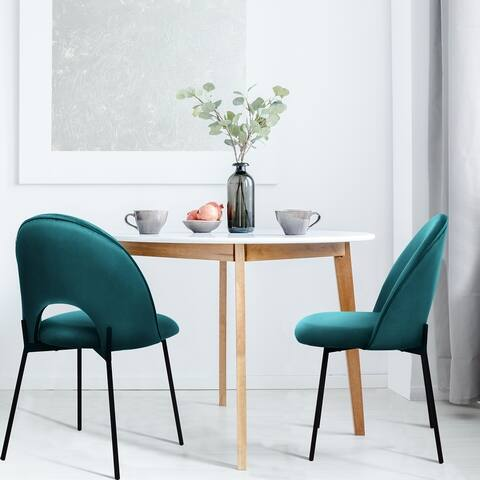 Velvet Upholstered Accent Leisure Modern Dining Room Chairs Set of 2