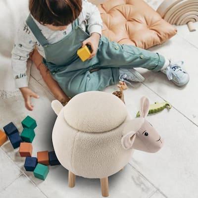 "Kids ottoman with storage,17""seat height child animal stool,White sheep footrest stool"