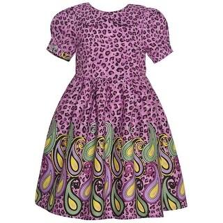 Maria Elena Little Girls Purple Animal Paisley Print Short Sleeve Dress
