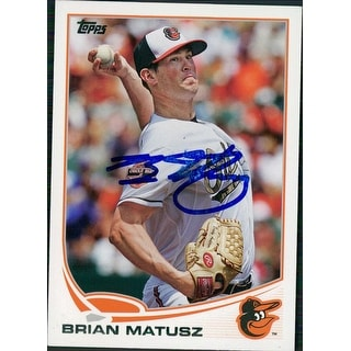 Signed Matusz Brian Baltimore Orioles 2013 Topps Baseball Card Light Smudging of the signature auto