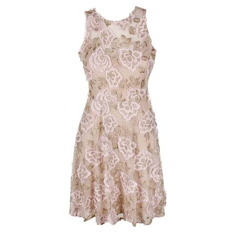 Taylor Blush Gold Sleeveless Fringe Floral-Embroidered Ft & Flare Dress 4