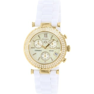 Precimax Women's Lily Elite Crystal PX13375 White Ceramic Fashion Watch