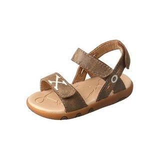 Twisted X Shoes Kids Sandals Stitched Hook Loop Leather Bomber