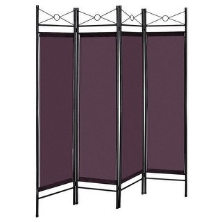 4 Panels Metal Frame Room Private Folding Screen - Brown