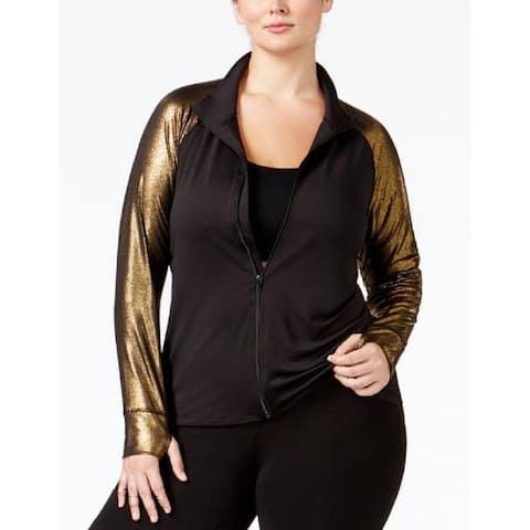 Material Girl Women's Active Plus Size Metallic-Sleeve Jacket,Noir,2X