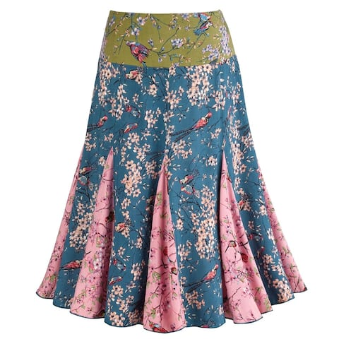 "Catalog Classics Women's Dawn Songbird Pleated Pull On Skirt - 25"" Long - Multi"