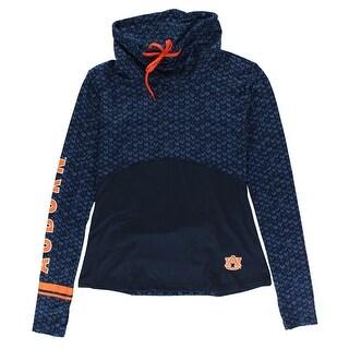 Colosseum Womens Auburn University Scaled Cowl Neck Pullover Shirt Navy - Navy/Orange
