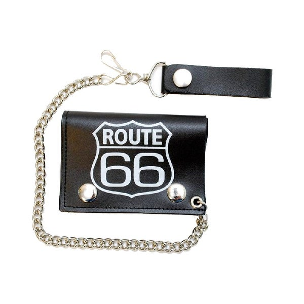 Genuine black leather biker wallet with route 66 design and safety chain - One size