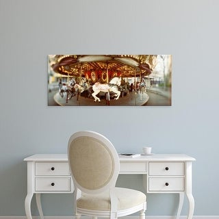 Easy Art Prints Panoramic Image 'Carousel horses, Amusement park, Queen Anne Hill, Seattle, Washington' Canvas Art