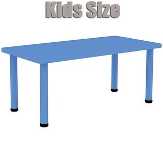 """2xhome - Blue - Kids Table - Height Adjustable 21.5"""" - 22.5"""" Rectangle Child Plastic Activity Table Bright Colorful 24 x 48"""""""