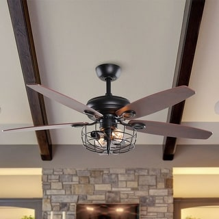 Link to Industrial 52-in Wooden 5 Blades 2-Light Ceiling Fan with Remote Similar Items in Ceiling Fans