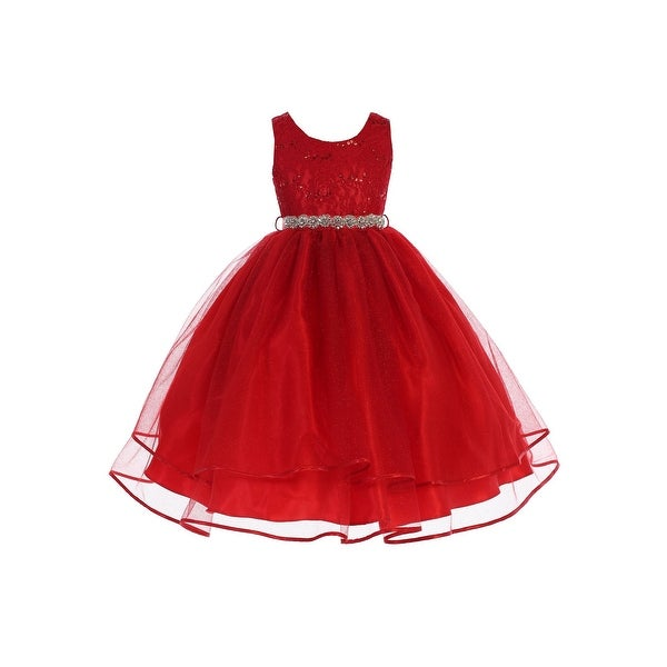 10965ae9814 Shop Girls Red Sequin Lace Sparkly Mesh Stylish Junior Bridesmaid Dress -  Free Shipping Today - Overstock - 23542159