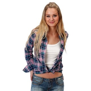 Roper Western Shirt Womens L/S Button Plaid Pink 03-050-0597-4047 PI