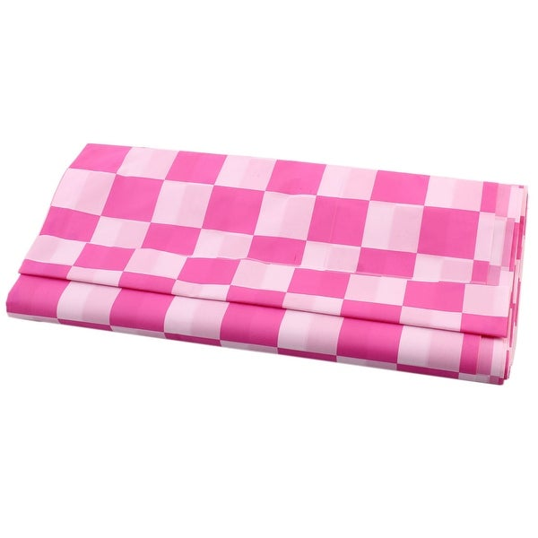 Lovely Kitchen Lattice Shape Wipe Clean Plastic Tablecloth Cover Plaid Pink 1.4 X  2.7M