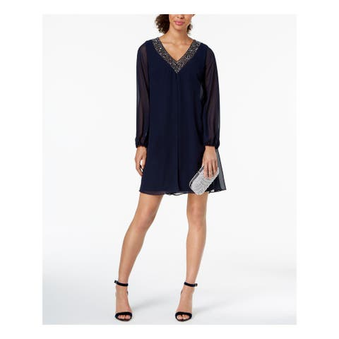 BETSY & ADAM Navy Long Sleeve Above The Knee Shift Dress Size 4
