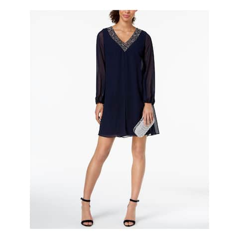BETSY & ADAM Navy Long Sleeve Above The Knee Shift Dress Size 8