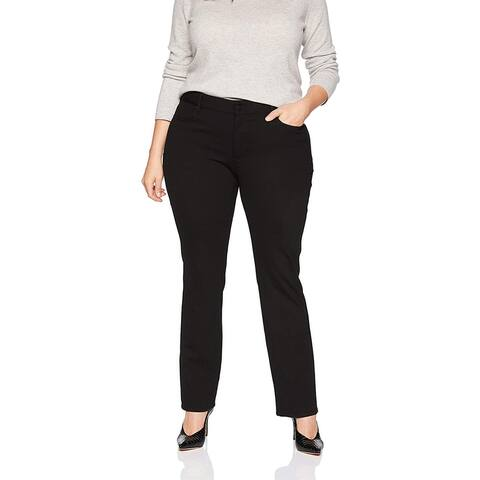 Nydj Women's Ponte Marilyn Straight Leg Pant, Black, 28W