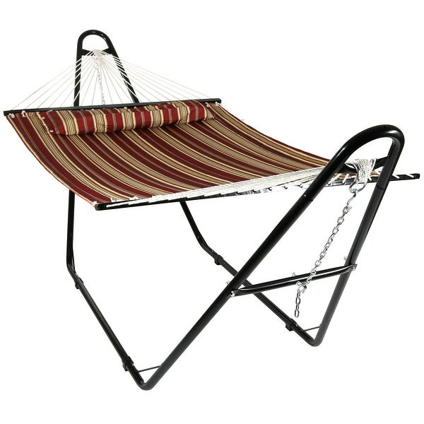 Sunnydaze Quilted Double Fabric 2-Person Hammock with Multi-Use Universal Stand