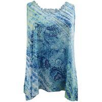 Women - Plus Size Sleeveless Lace Back Tank Top Summer Fashion Design Blue Blue