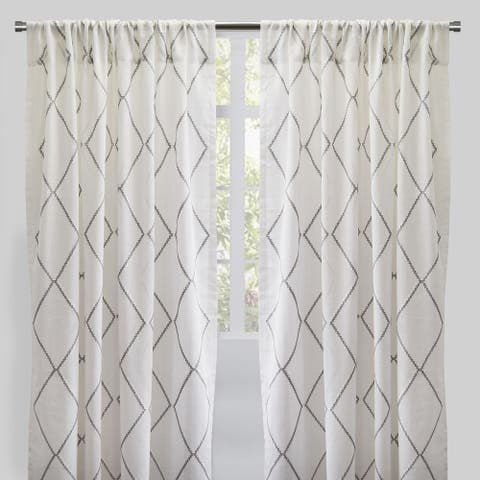 """Rodeo Home Rod Pocket Katie Embroidered Sheer Curtains (Set of 2) - 54"""" x 96"""" - 54"""" x 96"""""""