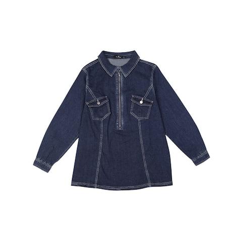 Women's Plus Size Denim Jacket Zip Up Washed Jean Denim Jackets Shirt - Dark Blue