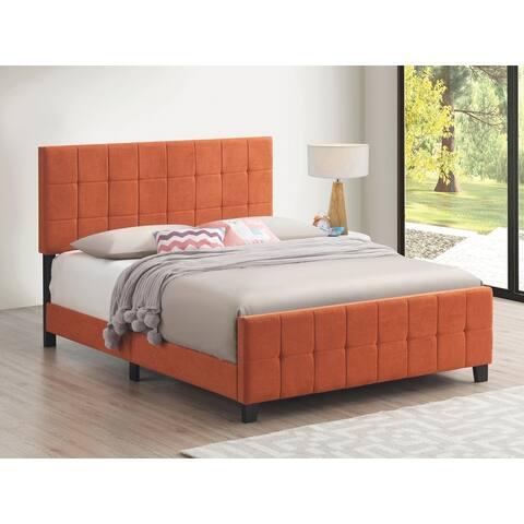 Destiny Grid Tufted Upholstered Panel Bed