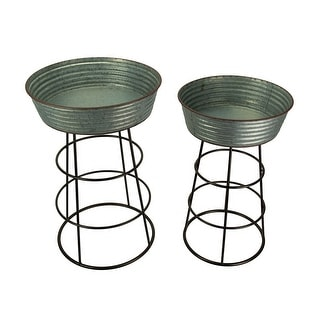 Rustic Galvanized Metal 2 Piece Round Wash Tub Planter Stand Set - 24.5 X 16 X 16 inches