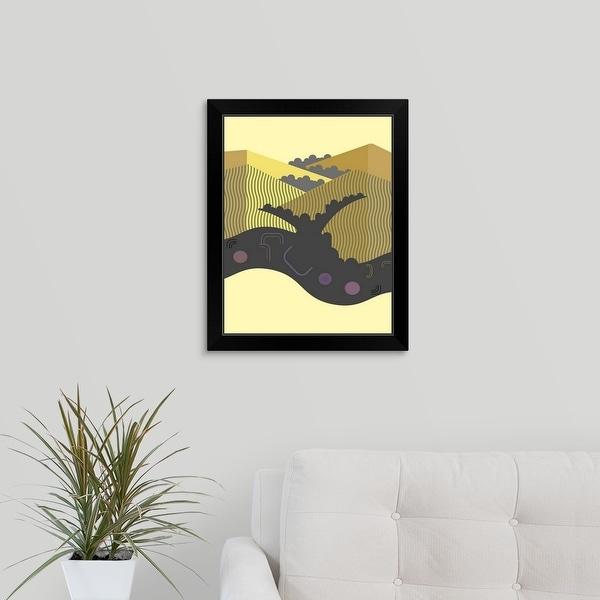 """California Coastal Hills"" Black Framed Print"