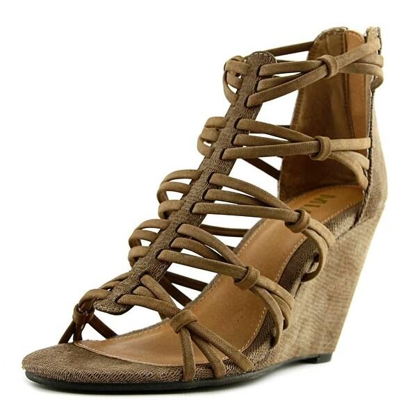 Mia Dylon Women Open Toe Synthetic Tan Wedge Sandal