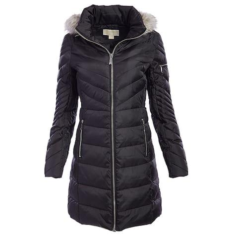 Michael Kors Black Down Chevron Puffer Coat