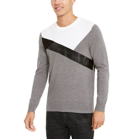 INC International Concepts Men's Colorblocked Sweater Grey Size X-Large