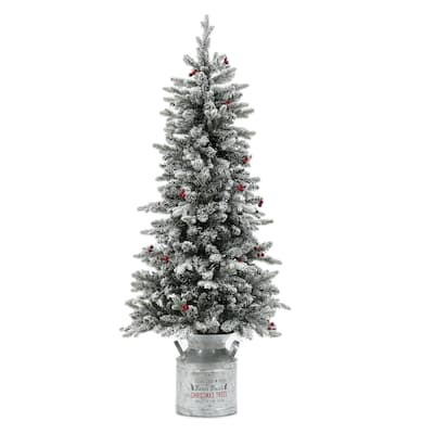 "5ft Pre-Lit Flocked Artificial Christmas Tree with Metal Pot - 60"" H x 25.5"" Diameter"