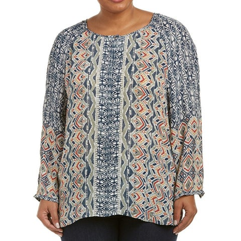 Nic + Zoe Women's Plus Geo Print Scoop Neck Bouse